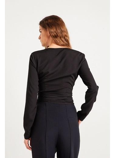 Rue Uzun Kollu Dekolteli Bluz Siyah